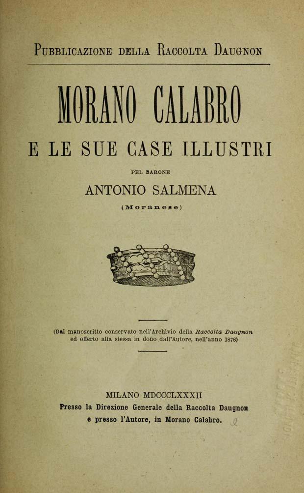 Antonio Salmena, Morano Calabro e le sue case illustri