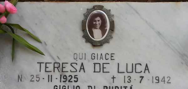 lapide di Teresa De Luca, figlia di Rosalbino